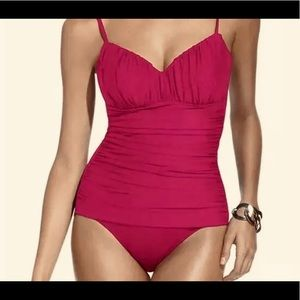 FUSCIA SZ 12 MIRACLESUIT, RUCHED GENTLY USED.